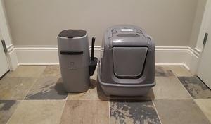 Sophresh Litter Box next to a Litter Genie