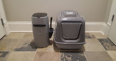 Sophresh Litter Box next to a Litter Genie