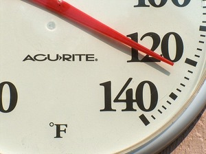 thermometer showing 120 degrees