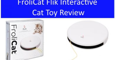 The Frolicat Flik Interactive Cat Toy in the box and out of the box