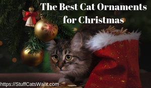 a cat under a tree looking at cat ornaments for christmas