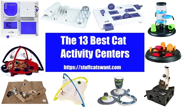 several cat activity centers all in one image
