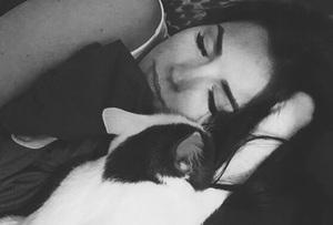 rori sleeping right next to her human's head
