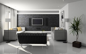 a living room with all grey furniture