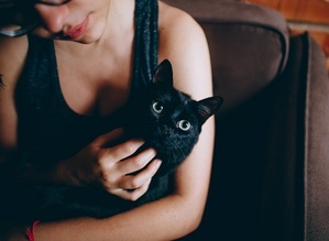 a woman holding a comfy cat