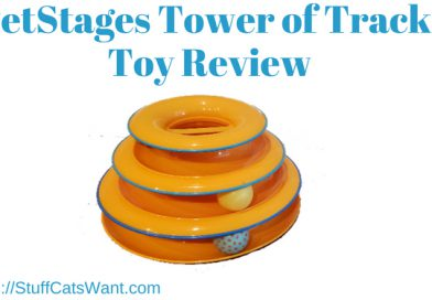 the petstages tower of tracks toy being reviewed