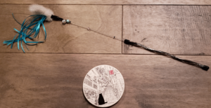 a wand toy and a coaster
