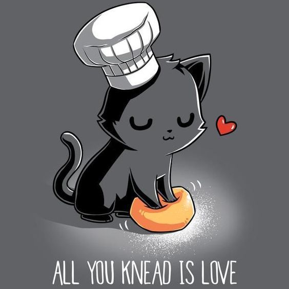 a cartoon cat kneading bread